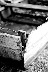 Leak (Quiet Corners) Tags: wood old bw slr film 35mm boat dof bokeh nail olympus om10 short manual rotten leak essex ilford colchester hbw rowhedge