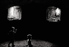 Holes (2) (sk31k) Tags: windows blackandwhite bw castle monochrome wales voigtlander 28mm dungeon holes hp5 zeissikon raglan ultron blackwhitephotos