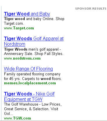 tiger woods search on Yahoo!