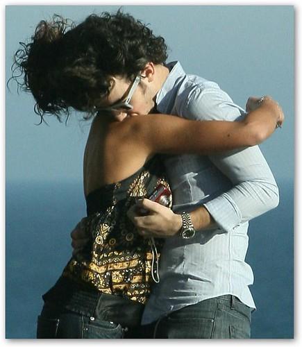 Kevin Jonas Kisses Danielle Deleasa's Shoulder