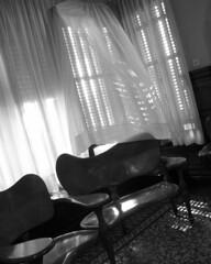 parc gell 10.5.08 - 120 (laura padgett) Tags: barcelona travel espaa window bench blackwhite spain europe furniture curtain catalonia unesco artnouveau carmel gaud catalunya breeze catalua modernisme worldheritage parcgell jugendstil elcarmel parkgell antonigaud casamuseugaud hortaguinard worksofantonigaud 1001gardens barridelcarmel