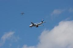 旅客機が飛び交う