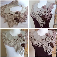 Lacy Romantic Collar (DAINTYCROCHETBYALY) Tags: flowers wooden lace crochet khaki cotton collar beaded vintagestyle taupe originaldesign irishcrochet
