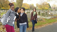 students in the cemetery (the science floor) Tags: ecology first tottenham investigation btec