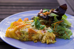 Leek, pumpkin & sweet potato frittata