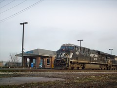 Norfolk Southern freight train waiting on a hold order. Chicago Illinois. January 2008.