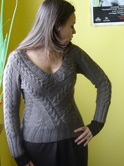 not classic cables (karinaonchul) Tags: sweater knitting cables pullover vneck