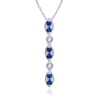 Round Sapphire and Diamond Dangling Pendant in 14K White Gold (0.52 ct. tw.)