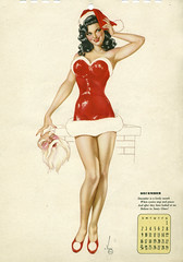 Merry Christmas from December, 1945 (carbonated) Tags: christmas xmas vintage december pinup esquire varga calendargirl santaihardlyknewthee