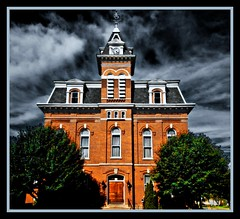 Town Hall (Robert Myer) Tags: sky clouds photoshop bricks townhall 1001nights picnik brickbuilding blacksky digitallyaltered nikond40 adobephotoshopelements5 finephotoshopdesign simplystunningshots