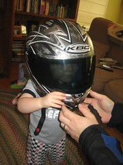 Ben in Daddy's helmet