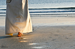 "311\365        on the road of life ! (""Anwaar) Tags: life road morning sea woman art love feet beach girl lady canon walking photography foot 50mm shadows sad 100mm spots teen shore prints feeling kuwait q8  bnaider anwar   sadfeeling  400d abigfave 311365 goldstaraward"