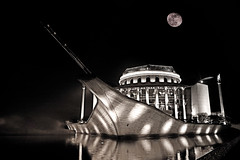 Ghost ship (fusionfan) Tags: blackandwhite bw moon reflection night theater hungary ship nightlights nightshot ghost budapest fullmoon reflexions hdr nationaltheater ghostship nightbw fusionfan