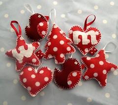 Just a few more by Heartfelt Handmade (heartfelthandmade) Tags: christmas red white tree bird star heart handmade felt spotty dotty