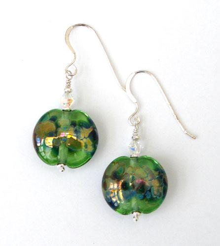 Green lampwork bead earrings.