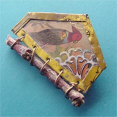 recycled jewelry bird house pin