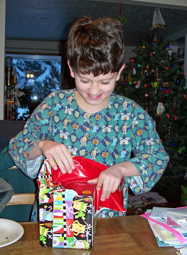 Opening the first present