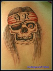 Guns & Roses Skull (undergroundtattoomd) Tags: tattoo skull back patch blueeye gunsroses undergroundtattoo