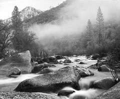 Fog and stream II | Yosemite National Park, USA (ART SRISAK | PHOTOGRAPHY) Tags: california bw mist snow film beauty mediumformat stream guess yosemite colorless monart ilforddelta100 autaut rb67pros artsrisak ilfoard mistostream sunrosehigher yourerightgreatjobannmarie ohgoodieiwasright greatjobart suchabeautifulgrainonlyspellstruth