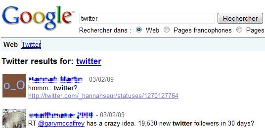 twitter dans Google