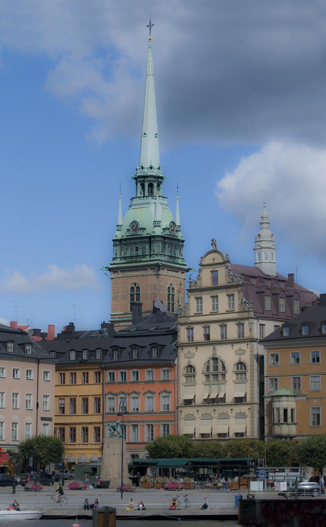 Kornhamnstorget med Tyska kyrkan som syns i bakgrunden.