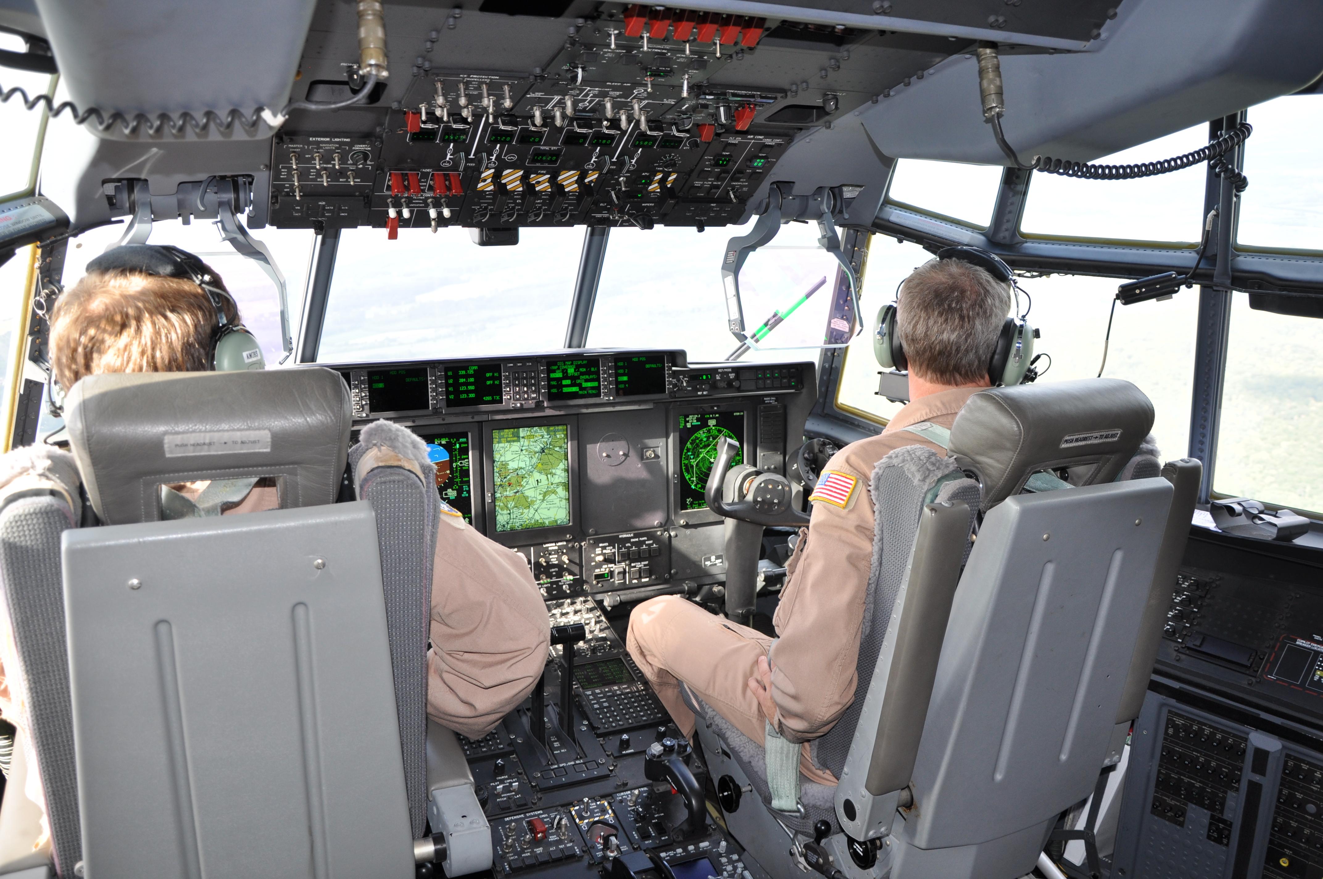 "Cockpit in flight C130J ""Super Hercules"" USAF"