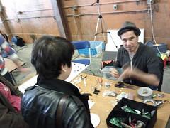 IMG_20110625_132645 (eesmyal) Tags: vancouver 2011 designnerds makerfaire nerdjam vancouverdesignnerds vibrobot bristlebot vibrobots bristlebots makerfairevan