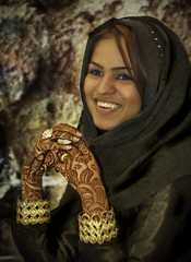 The Girl in Qatar (Stuck in Customs) Tags: panorama black cute girl beautiful smile tattoo happy photography gold engagement nikon photographer hanna muslim details hijab drawings engagementring ring nails pro bracelets tatoos henna tatoo plasticsurgery hdr nosejob doha qatar ameena jewelries stuckincustoms  treyratcliff eyebrowsshape