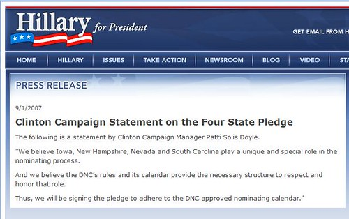 Hillary Clinton Press Release on her Pledge