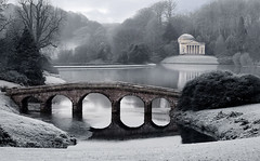 Stourhead Gardens Wiltshire (sminky_pinky100 (In and Out)) Tags: bridge winter england lake cold english heritage tourism gardens landscape europe scenic frosty historical wiltshire nationaltrust picturesque soe selectivecolour personalbest stourheadgardens golddragon mywinners abigfave omot platinumphoto anawesomeshot citrit theperfectphotographer goldstaraward dragongoldaward alemdagqualityonlyclub