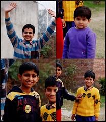(Veee Man) Tags: blue people india boys yellow children four purple faces smiles una himachalpradesh 100strangers