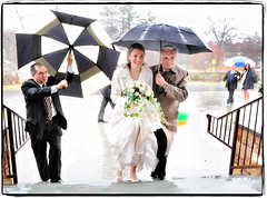 Protect the Bride! (Ryan Brenizer) Tags: wedding newyork rain weather umbrella bride nikon d3 whiteplains westchester fatherofbride weddingphotojournalism 2470mmf28g