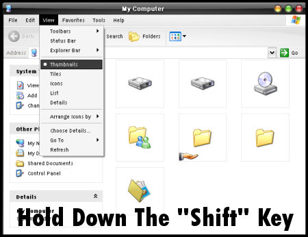 """Step 2: Hold Down The """"Shift"""" Key"""