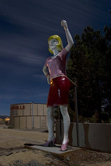 Uniroyal Gal (Lost America) Tags: lightpainting abandoned night fullmoon highway395 nocturnes pearsonville uniroyalgal fiberglassstatue internationalfiberglass