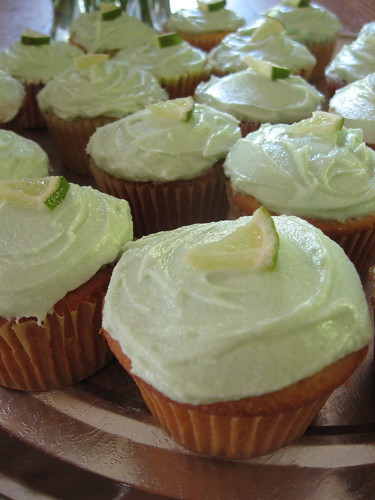 Vanilla Cupcakes with Cream Cheese Frosting and Lime Curd inside