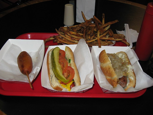 Hot Doug's: Orders - Duck fat fries, The dog, The Sally Vega, Bacon sausage