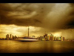 Heavy rain (Kaj Bjurman) Tags: toronto canada tower rain clouds cn eos long exposure raw hdr kaj cs3 photomatix flickrsbest 40d bjurman