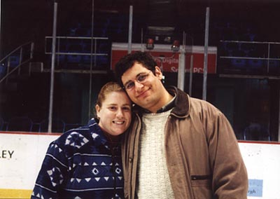 At a hockey game 11-25-00