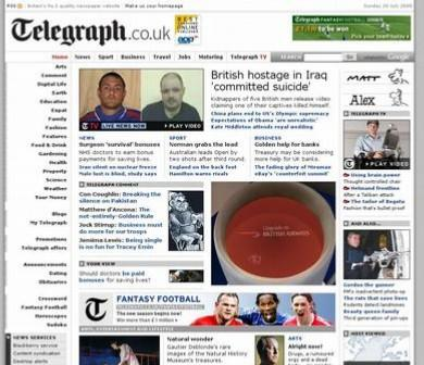 Old Telegraph homepage