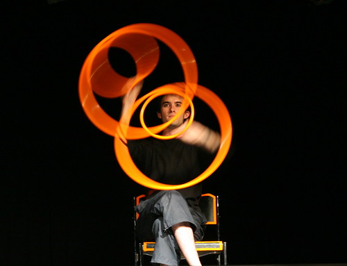 French playing with hula loop, very very interesting show