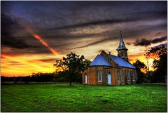 Rays of Power (Extra Medium) Tags: sunset church clouds scenery texas bricks hdr newbrunfels