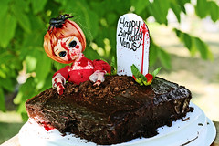 birthday (boopsie.daisy) Tags: birthday flowers red grave cake pose yummy blood doll venus zombie tombstone dirt spatter