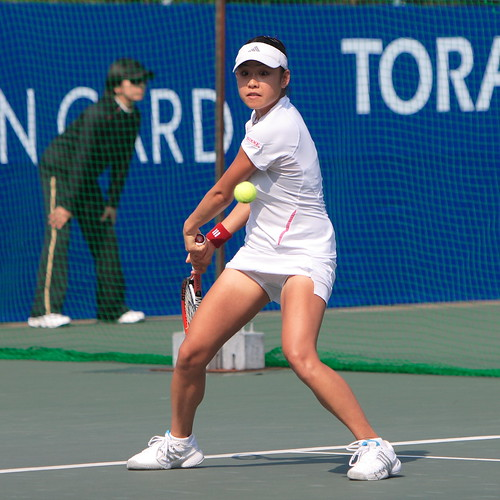 two-handed forehand stroke by Aiko Nakamura