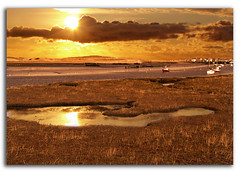 Golden Marsh (DDA / Deljen Digital Art) Tags: uk england sky cloud reflection nature water marina sunrise river boats estuary northumberland marsh yachts amble