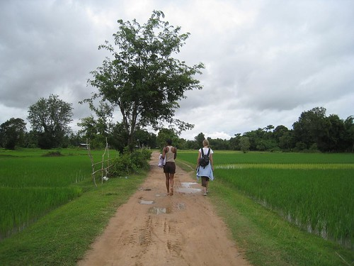 Caroline and Celene amongst the rice paddies