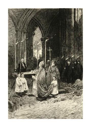 016- El funeral de la condesa- Dibujado por A.H. Tourrier y grabado por P. Teysonnieres para la novela The Antiquary de W. Scott