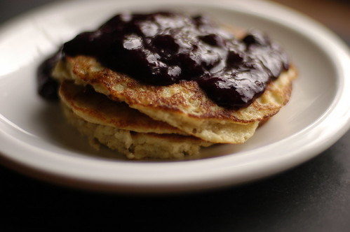 oatmeal pancakes with blueberry compote