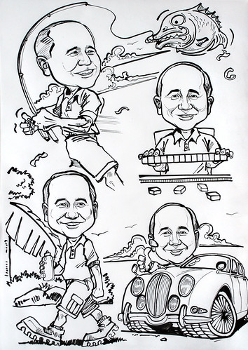 Caricature montage ink