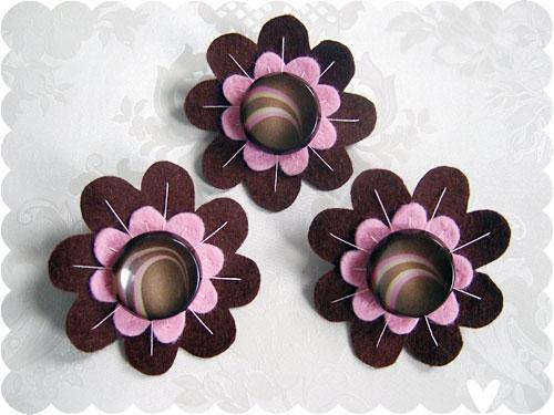Chocolate Swirl brooches