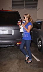 LAUREN CONRAD (mademoisellevelyn) Tags: california usa sunglasses father daughter tshirt flats jeans beverlyhills poloshirt whitepurse plaidshorts cuffedjeans